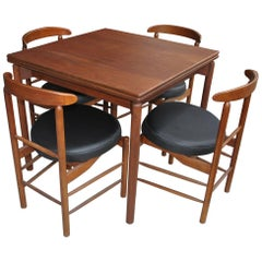 Greta Grossman Midcentury Teak Expandable Dining Table and Chairs