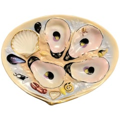"""Antique American Oyster Plate Signed """"Union Porcelain Works"""", circa 1880s"""