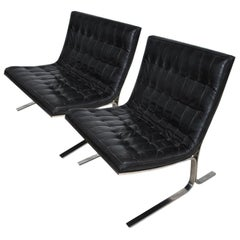 Pair of Midcentury Nicos Zographos CH28 Lounge Chairs