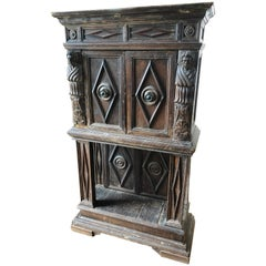Manly Rustic Carved Walnut Cabinet on Stand
