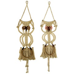 Macramé Owl Wall Hanging or Towel Ring Vintage