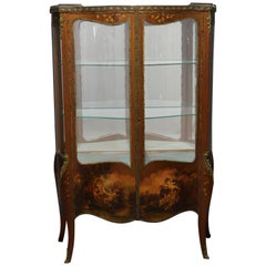 Antique French Louis XV Hand-Painted and Gilt Vernis Martin Double Vitrine