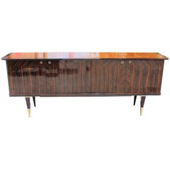 Long French Art Deco Macassar Ebony Sideboard or Buffet, circa 1940s