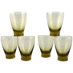 Russel Wright Chartreuse Morgantown American Modern Juice Glasses Set of Six