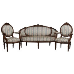 Antique Italian Figural Carved Walnut Upholstered Parlor Set, Doves and Rams