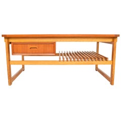 Swedish Modern Teak and Oak Coffee Table with Storage