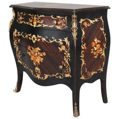 Vintage French Louis XVI Style Ebonized & Gilt Three-Drawer Commode 20th Century