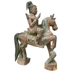 Indonesian Carved Figure on Horse
