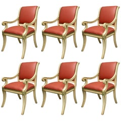 Set of Six Painted Regency Style Dining Armchairs