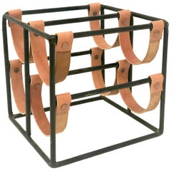 Arthur Umanoff Iron and Leather Wine Rack Four-Bottle Capacity