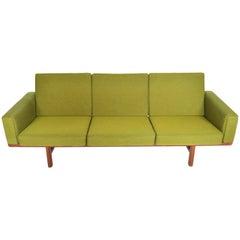Hans Wegner GE236/3 Walnut Three-Seat Sofa