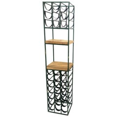 Wrought Iron and Butcher Block Wine Rack by Arthur Umanoff, 1950s