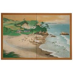 Japanese Two Panel Screen, Scene from Ainu Fishing Village 'Northern Hokkaido'