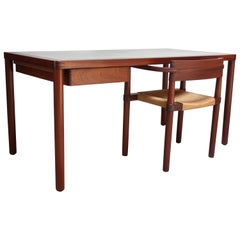 Danish Teak Writing Table with Green Top and Matching Chair