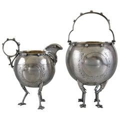 Gorham Coin Silver Chicken Leg Sugar Basket and Creamer, circa 1860