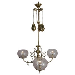 Antique Victorian Brass Three-Light Electrified Gas Chandelier, Weight Driven