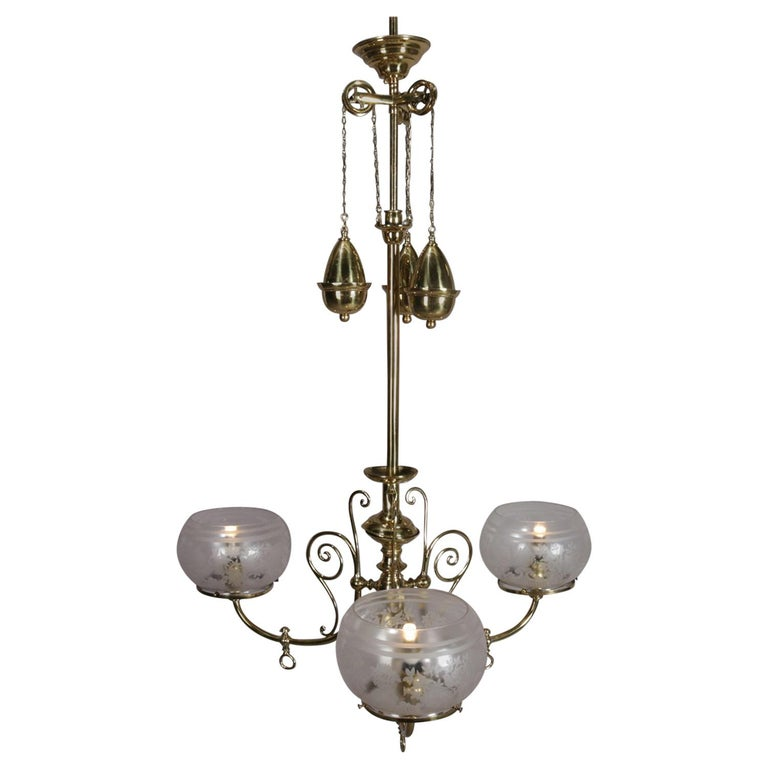 Antique Victorian Brass Three-Light Electrified Gas Chandelier, Weight  Driven For Sale - Antique Victorian Brass Three-Light Electrified Gas Chandelier