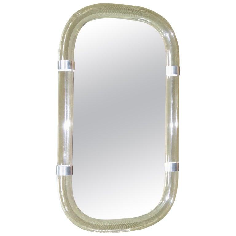 Karl Springer Attributed Floating Lucite Mirror For Sale