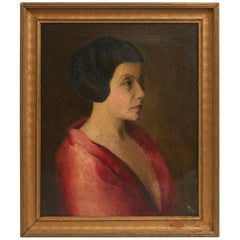 Mid-20th Century Oil Painting of Woman
