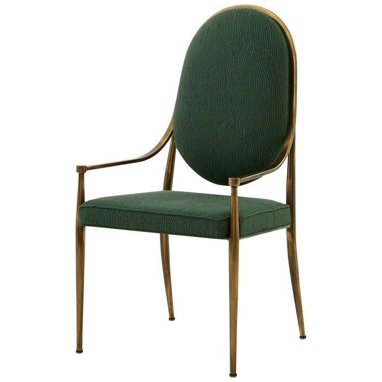 Mastercraft Brass Dining Chair in Kelly Wearstler Avant Green Linen