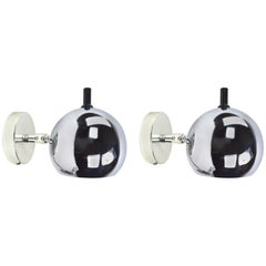 Pair of Chrome Ball Pin Up Sconces by Lightolier