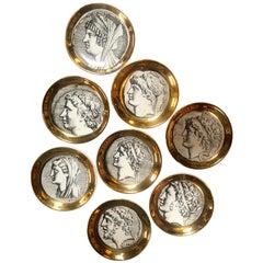 """Set of Eight Vintage Piero Fornasetti """"Monete"""" Little Plates, Italy, 1970s"""