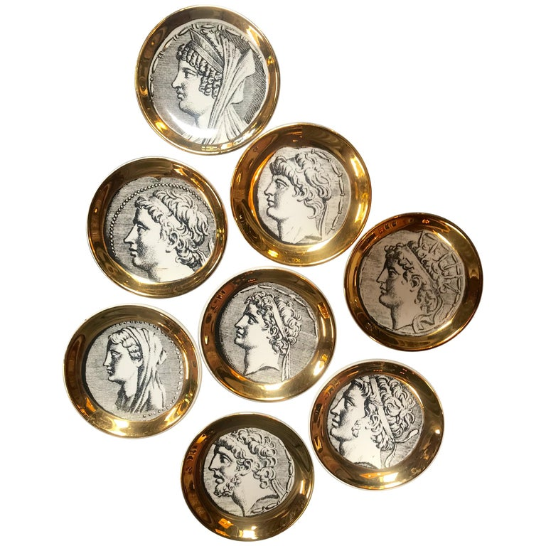 "Set of Eight Vintage Piero Fornasetti ""Monete"" Little Plates, Italy, 1970s For Sale"