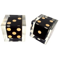 Pair of Cast Lucite Dice Cubes with Copper Pennies