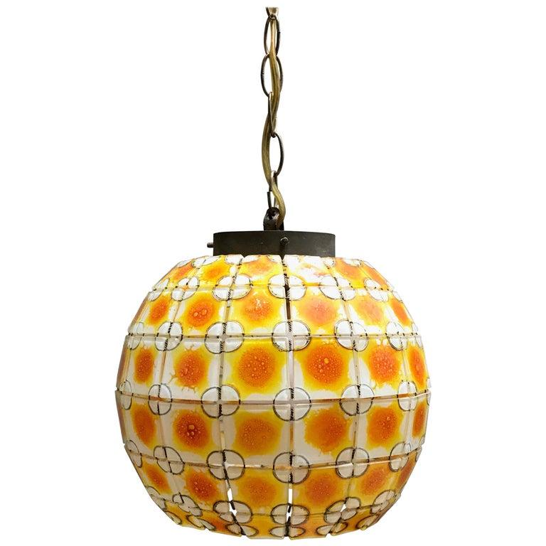 Midcentury Stain Glass Open Globe Pendant Light