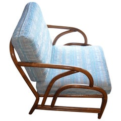 Midcentury Lounge Chair of Bamboo with Tight Spring Cushioning