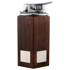 Hans Hansen, Table Lighter in Rosewood with Inlaid Silver, Denmark, 1960s