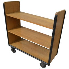 Midcentury Book Shelving Cart of Oak on Wheels from Midwestern Public Library