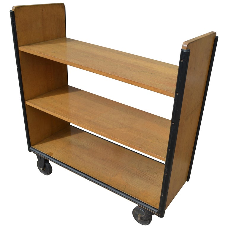 Rolling Library Book Cart Circa 1970s At 1stdibs