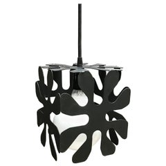 Mid-Century Modern Wrought Iron Cubed Flower Pendant Light