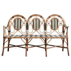 French Curved Wicker Settee with Green and White Stripes
