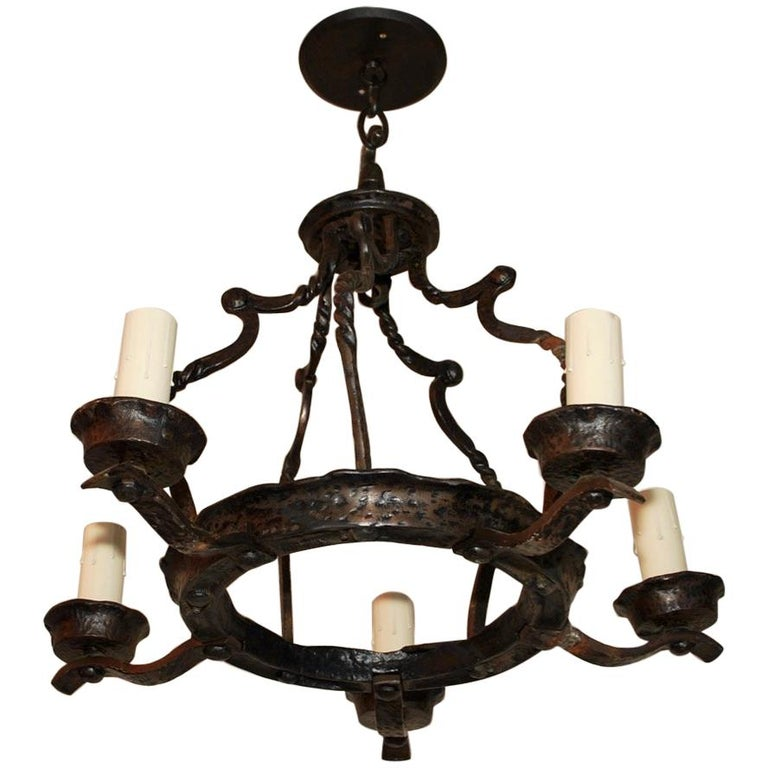 Elegant Small 1920s Cast Iron Chandelier For