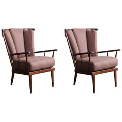 Pair of Open Framed Spindle Chairs Newly Upholstered in Brown Grosgrain Linen