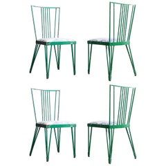 Set of Four Green Metal Modernist Chairs Newly Upholstered in Blue Toile Fabric