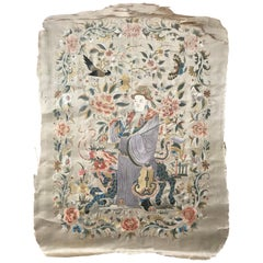 Fine Antique Chinese Silk Embroidery, China Embroidered Antique Tapestry Rugs