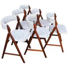 Set of Six Teak A-Frame Dining Chairs by T.H. Harlev for Farstrup