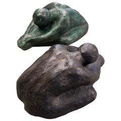 Pair of Midcentury Sculptures in Bronze and Terracotta