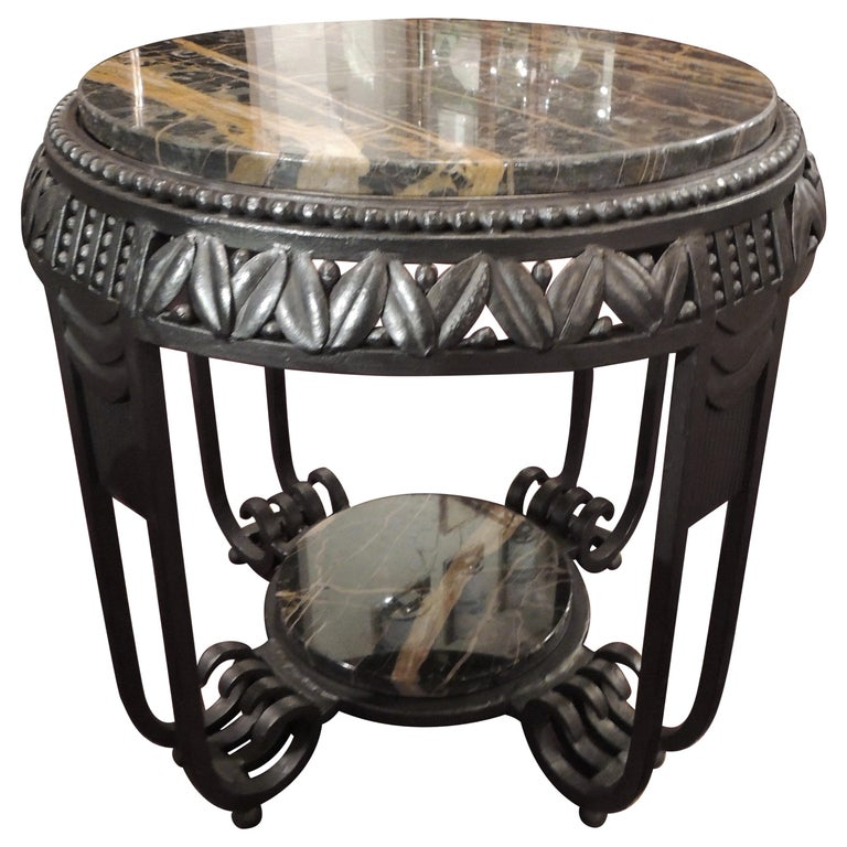 Art Deco Ironwork Side Table with Portoro Marble Top Brandt
