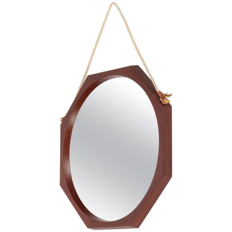 Italian Wall Mirror Mahogany, 1950s