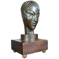 Stunning & Small Art Deco Bronze Androgynous Sculpture with Asian Look and Feel