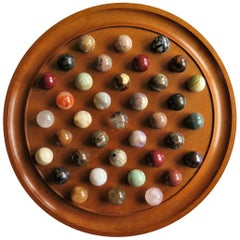 Large Marble Solitaire Board Game with 37 Agate Marbles, Late 19th Century