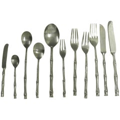 Midcentury Large Boxed Set Nickel Bronze Faux Bamboo Cutlery Service for 12