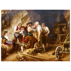 KPM Porcelain Plaque Painting of Vor Dem Aufstand 1809 in Tirol