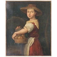 18th Century Italian Oil Painting Portrait on Canvas