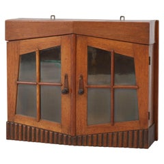 Oak Dutch Art Deco Amsterdam School Wall Cabinet with Glass Doors, 1920s