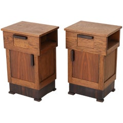 Pair of Oak Dutch Art Deco Haagse School Bedside Tables or Nightstands, 1920s